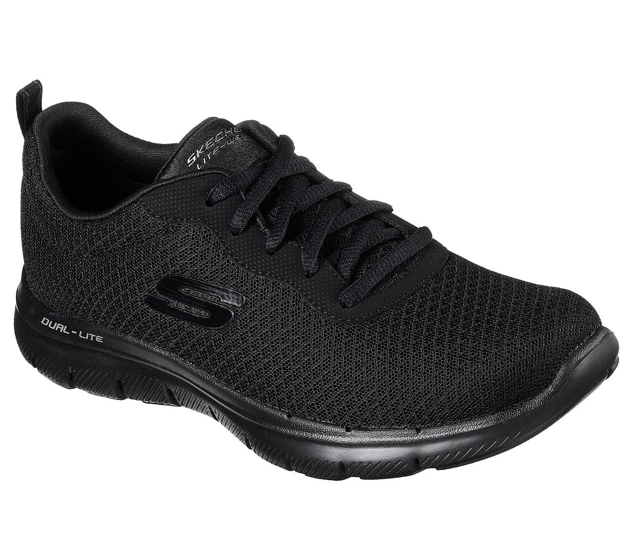 как выглядит Женская спортивная обувь 12775 BBK Black Skechers Shoes Women Memory Foam Sport Train Comfort Casual Mesh фото