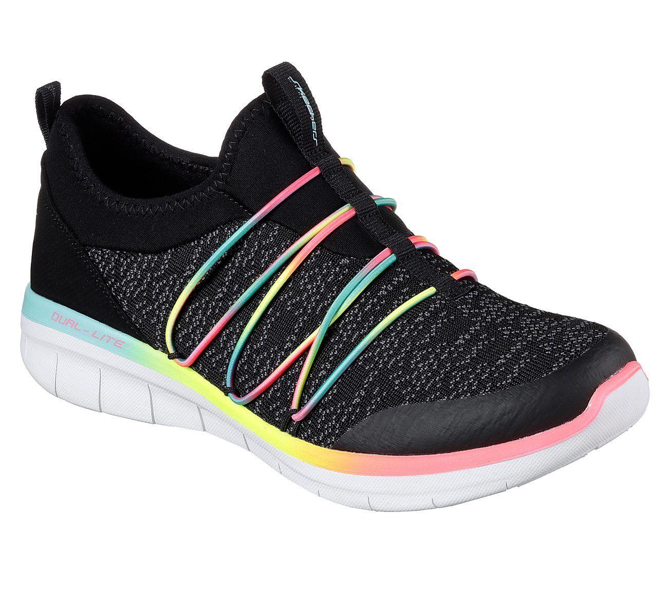 как выглядит Женская спортивная обувь 12379 W Wide Fit Black Skechers shoe Memory Foam Women Sport Slip On Comfort New фото