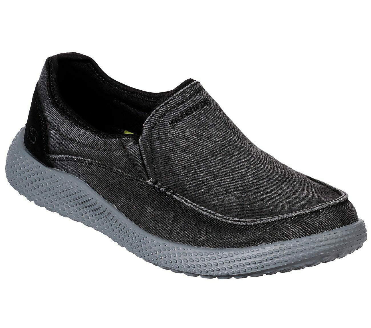 Skechers Black shoes Men Canvas Memory Foam Slip On Comfort Loafer Casual 66019