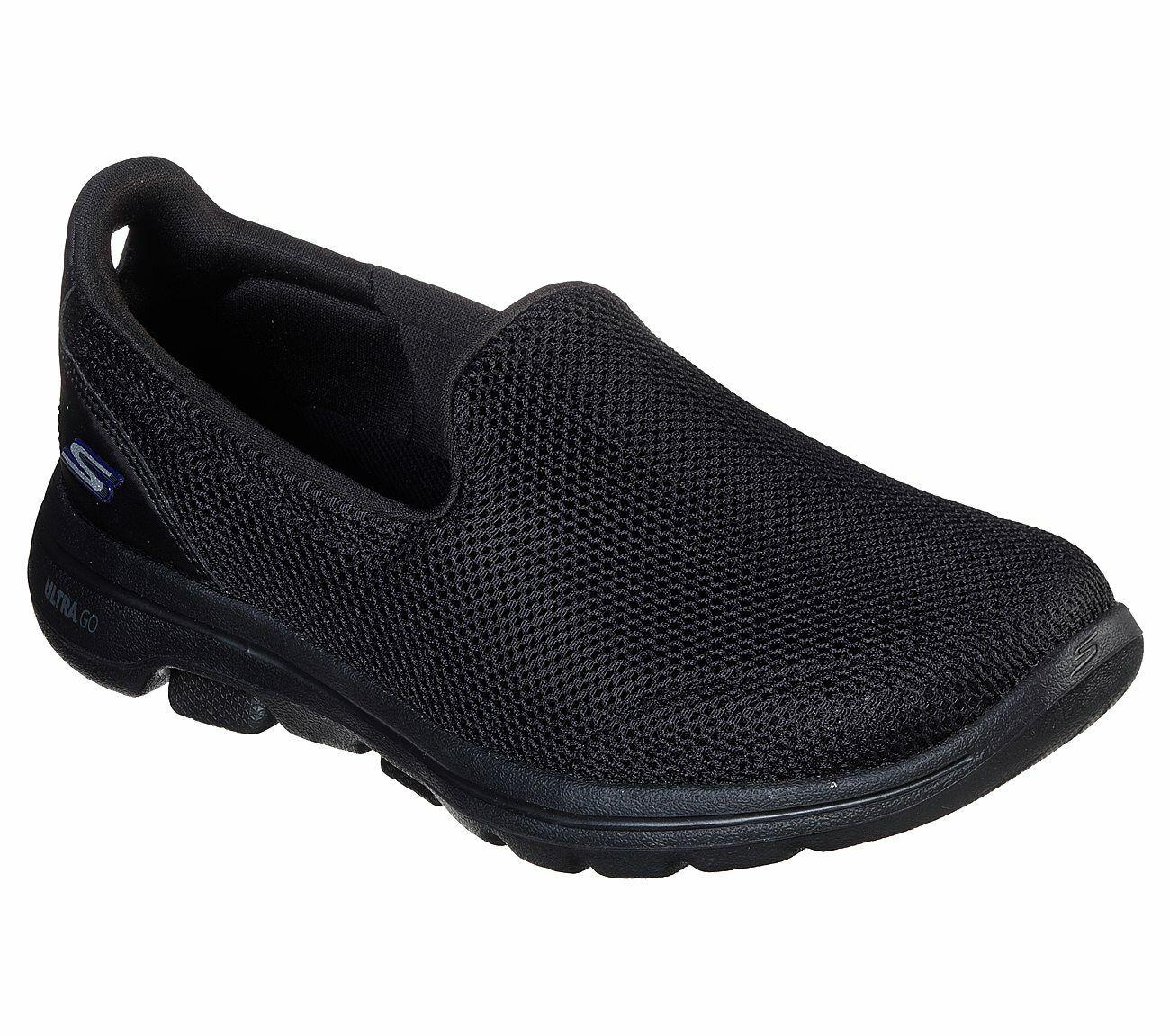 Skechers Shoes Wide Fit Black Go Walk 5 Women Casual Slip On