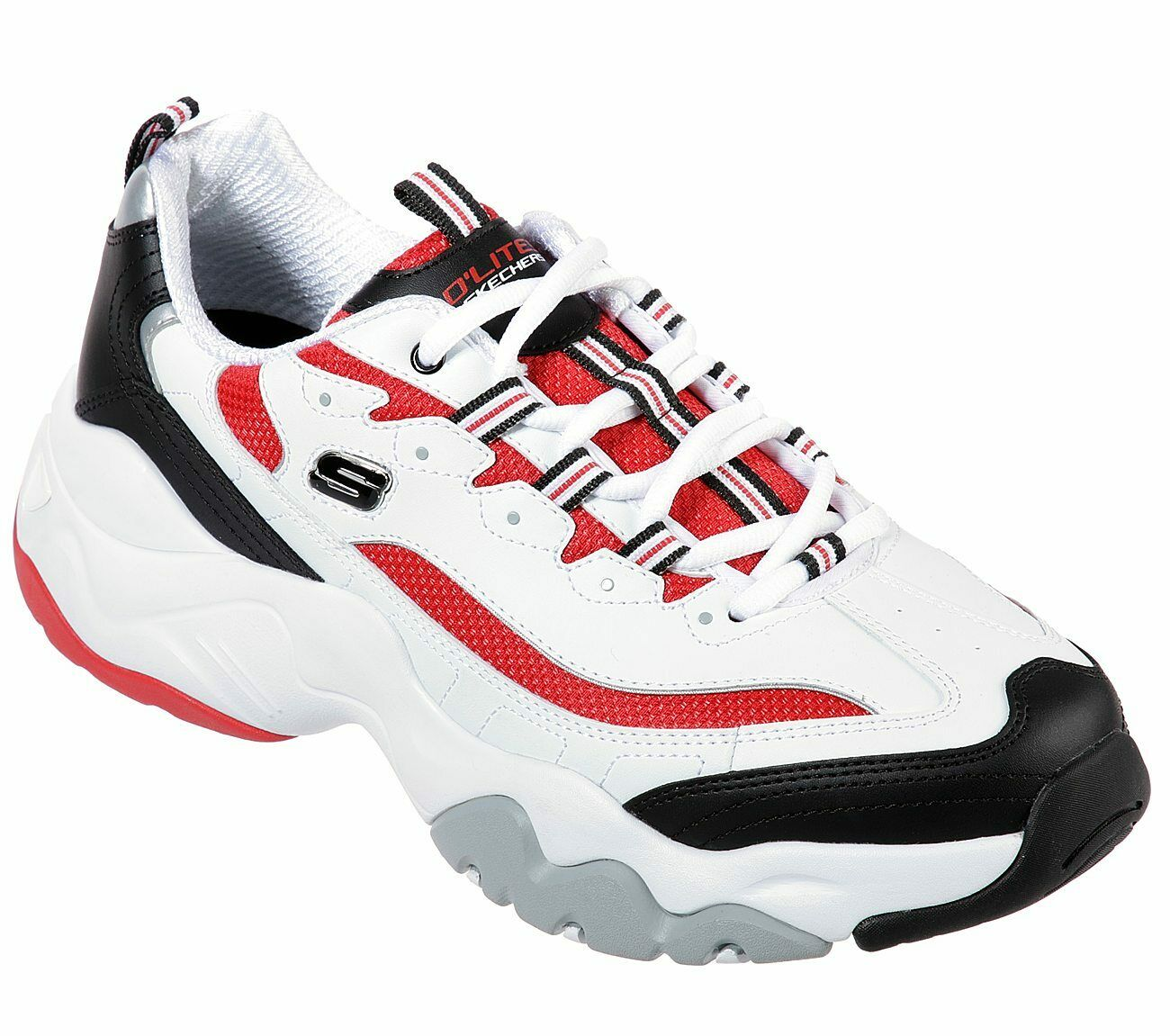 Skechers D'lites White Red shoes Men's Memory Foam Sporty Comfort Casual 52684