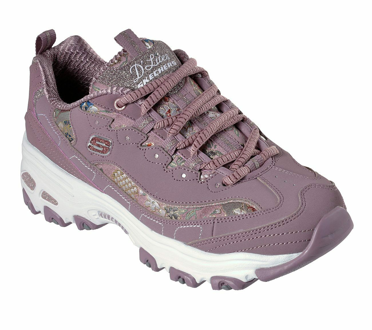 6158250d3d62d Skechers D Lites - Floral Days Trainers Womens Memory Foam Chunky Shoes  13082