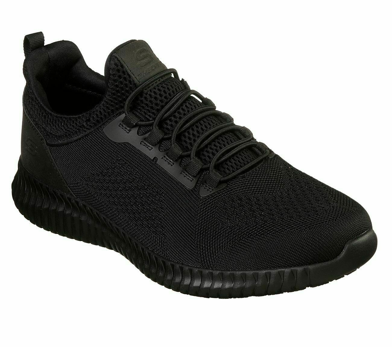Slip Resistant Skechers Black Shoes Work Men's Comfort Slip on Memory Foam 77188