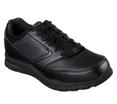 77156 Wide Fit Black Skechers shoes Memory Foam Work Men Comfort Slip Resistant