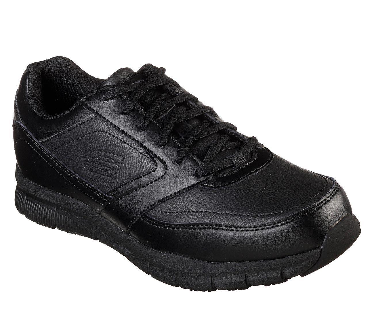 77156 Wide Fit Black Skechers shoes Memory Foam Work Men Com
