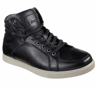 NEU SKECHERS Herren Sneakers Oxford-Stil Leder Memory Foam VOLDEN- MERIC Schwarz