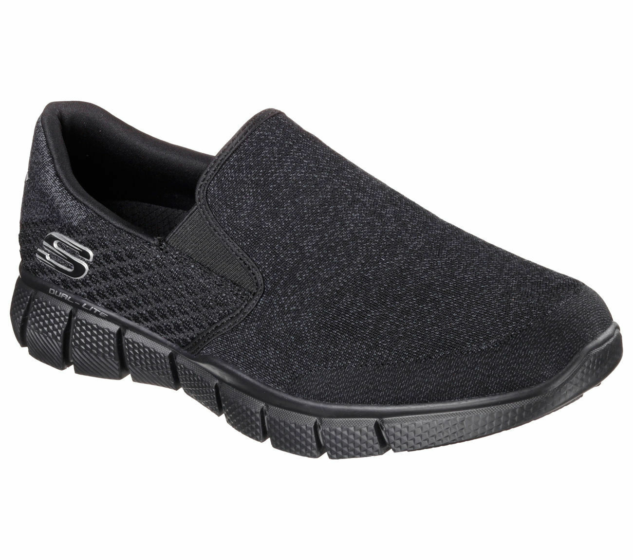 Black Men's Skechers Shoes 51521 Extra Wide Memory Foam Comfort Slip On Casual