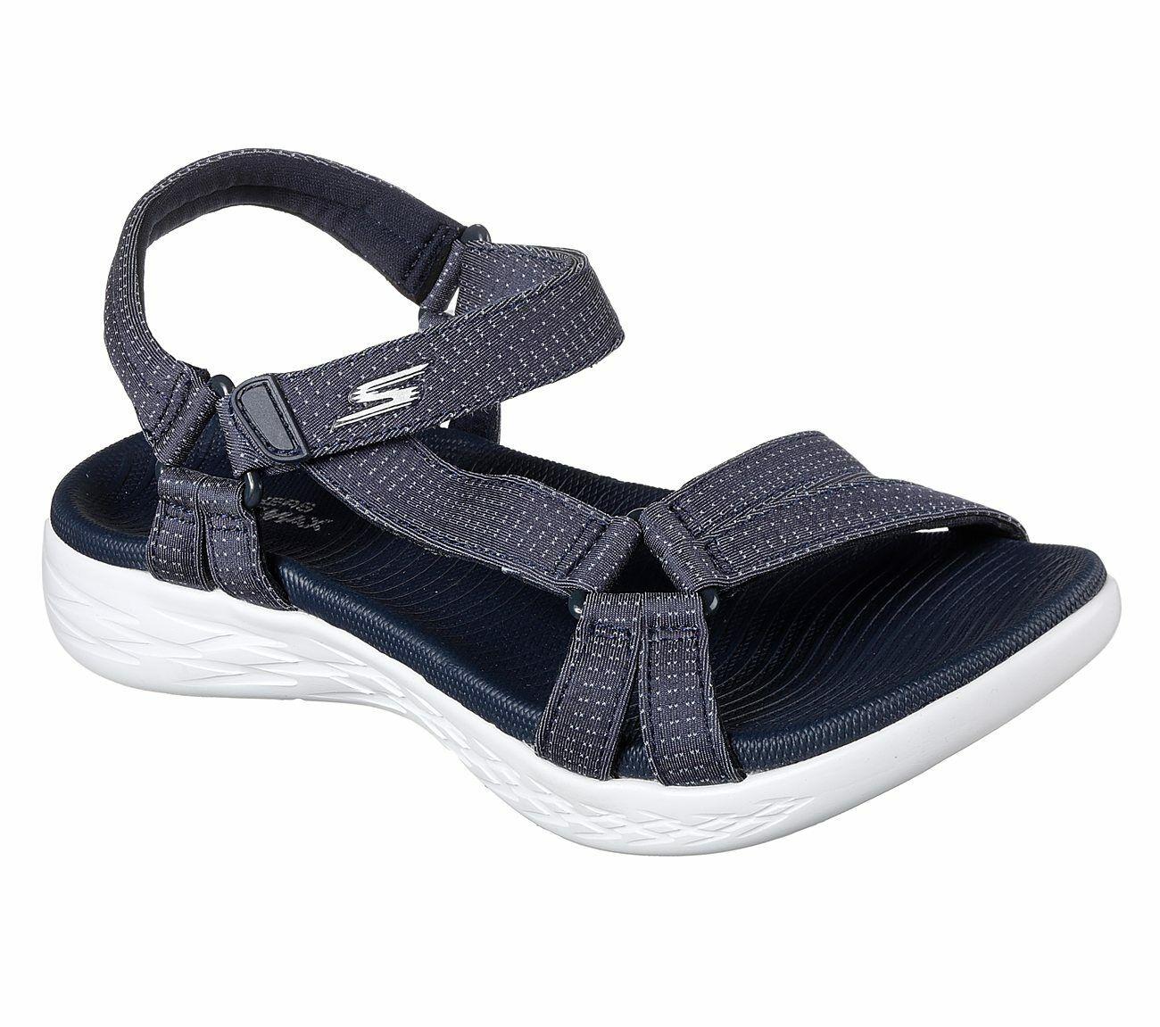 Details zu Skechers On The Go 600 Brilliancy Sandals Womens Memory Foam Strap GoRun 15316