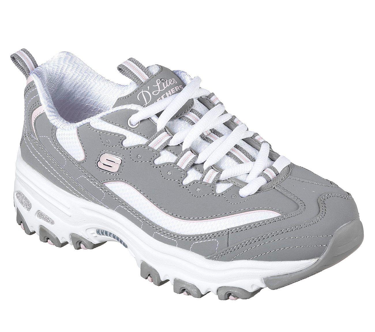 11930 Gray White D'lites Skechers Shoes Women's Sport Casual Comfort Memory Foam