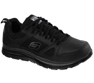 Black Work Skechers Shoes Men's Memory Foam 77040 Slip Resistant Leather Comfort Leather Adult Casual Shoes
