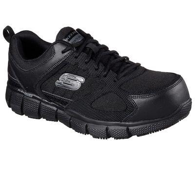 77132 Wide Fit Black Skechers shoes Work Men Memory Foam Slip Resistant Comp Toe