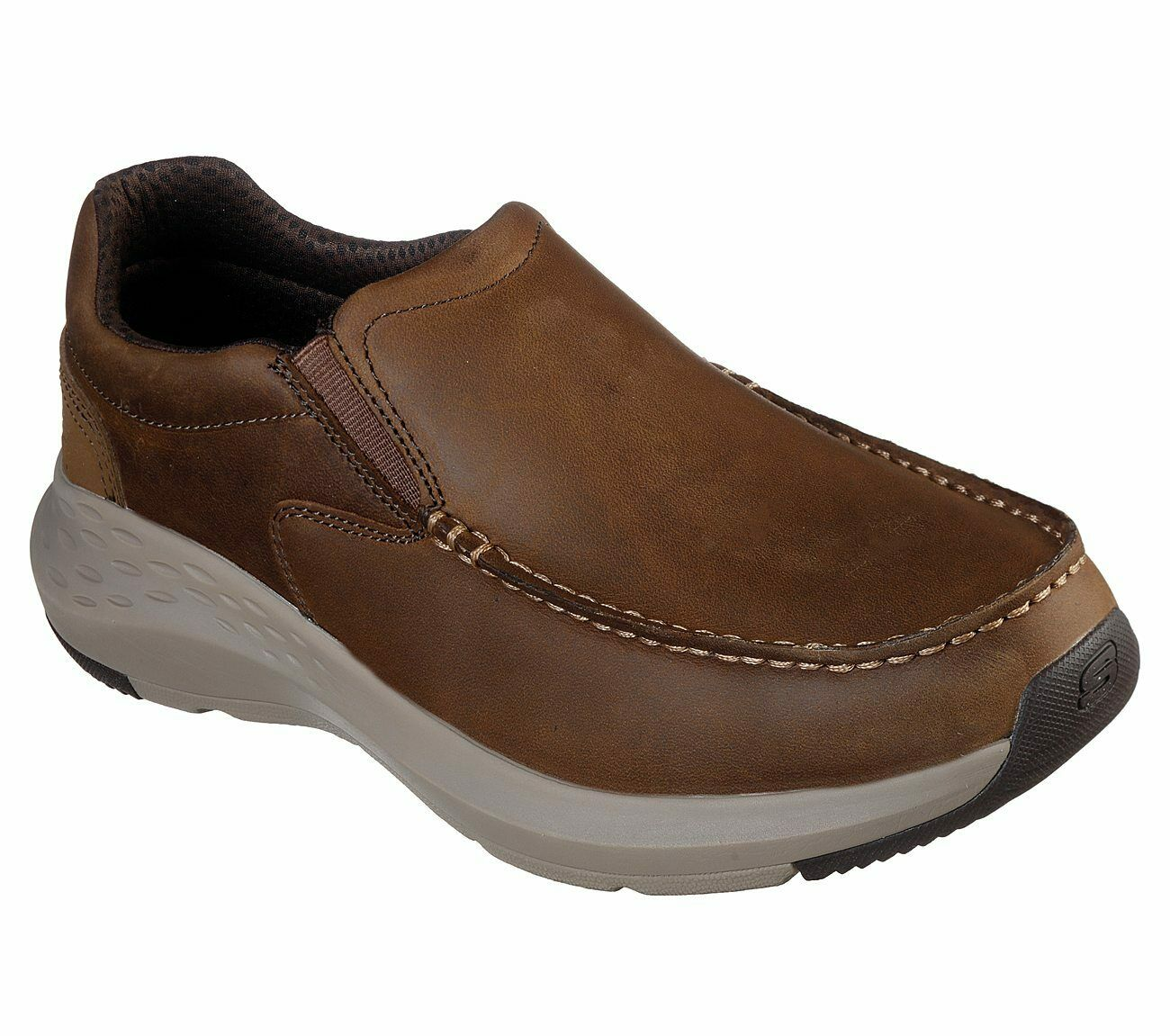 Skechers Brown shoes Men Memory Foam Casual Slip On Leather Loafer Moc Toe 65831