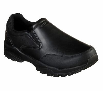 Skechers Black Shoes Men Memory Foam Slip On Comfort Casual Leather Loafer (Black Leather Slip On Shoes For Men)