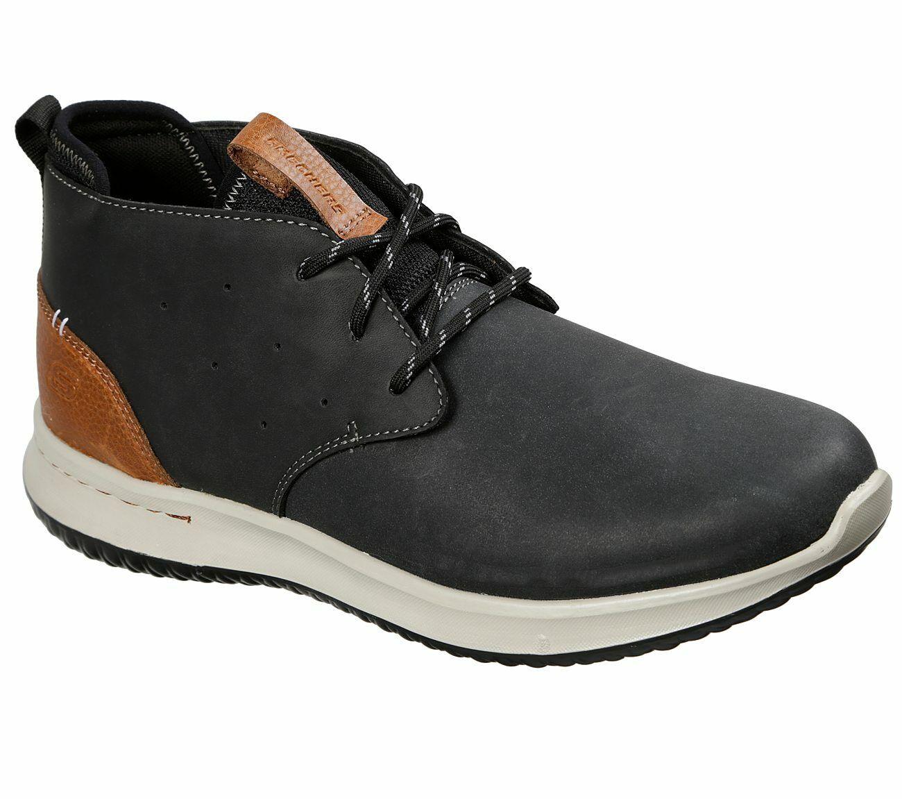 NEU SKECHERS Herren Sneakers DELSON CLENTON Freizeitschuhe Oxford-Schuhe Schwarz