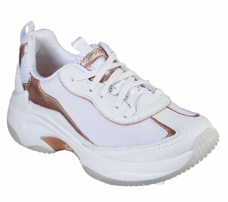 Skechers Shoe White Rose Gold Women Sport Train Memory Foam