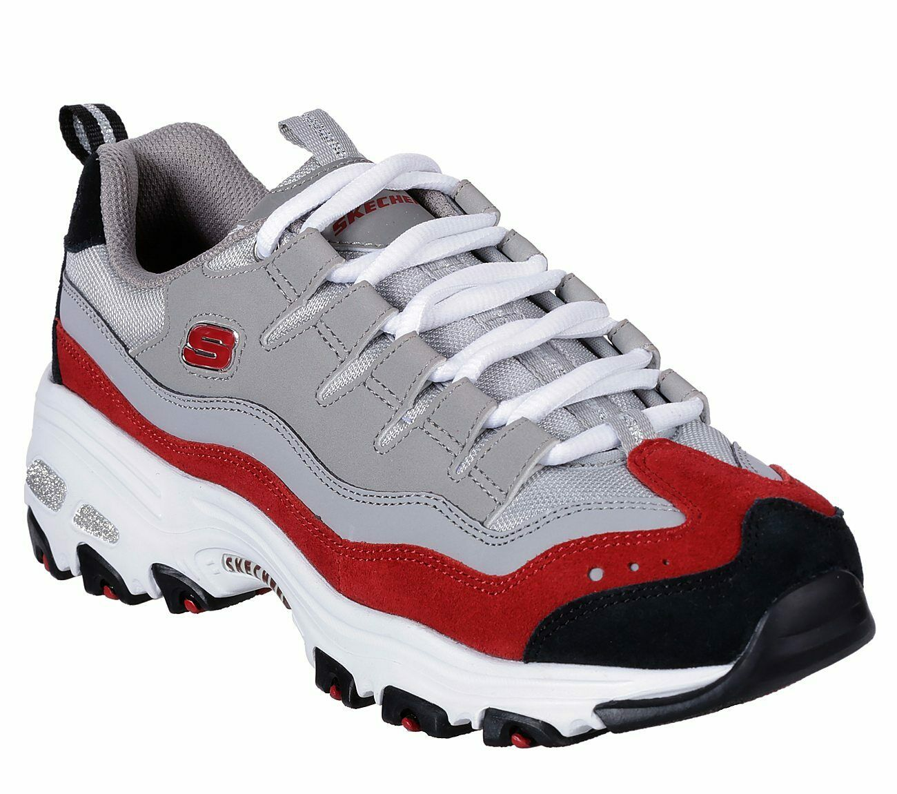 Skechers Dlites Gray Red shoes Women Sport Memory Foam Casual Comfort Soft 13141