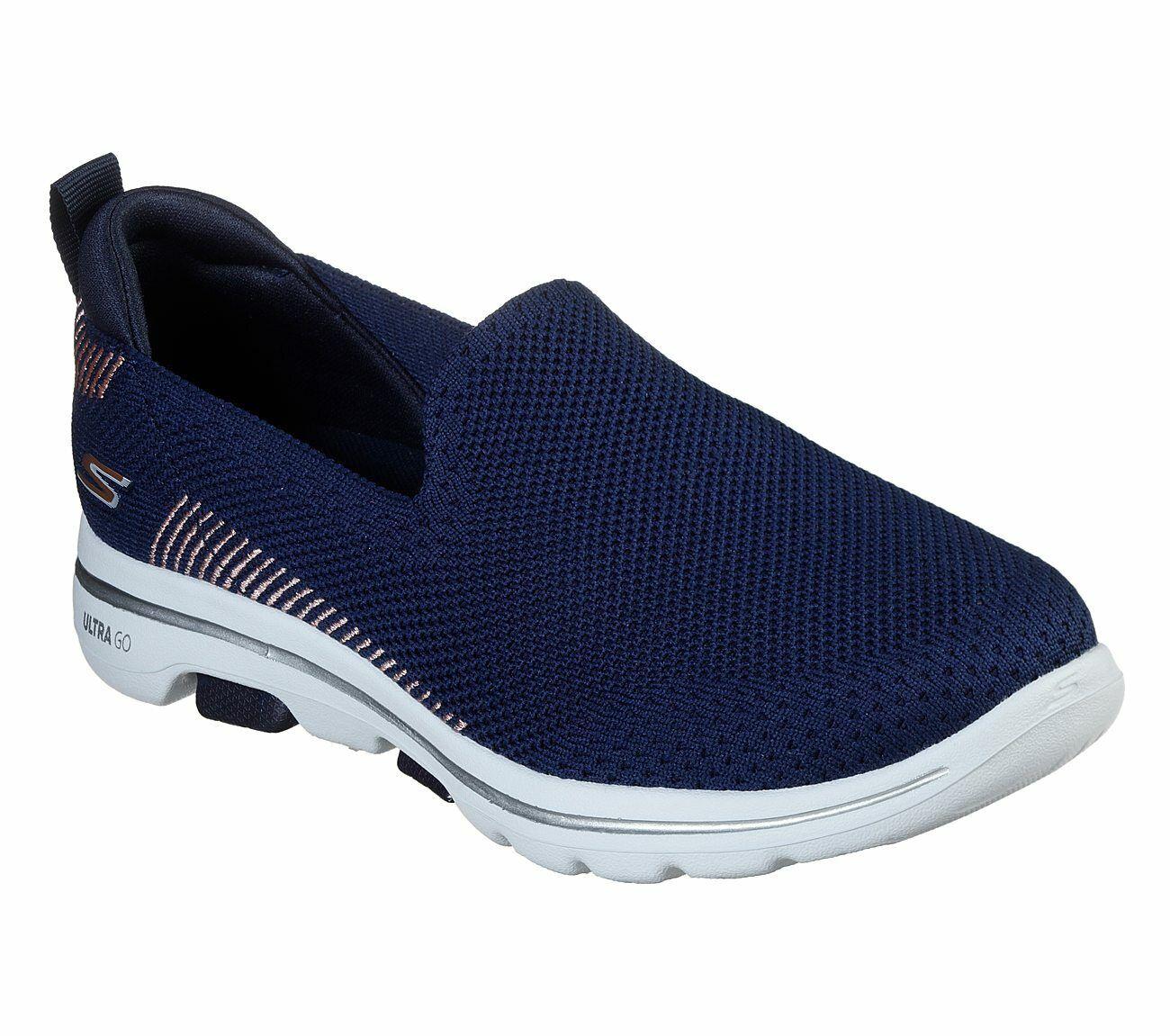 Skechers Shoes Navy Pink Go Walk 5 Women's Casual Slip On Comfort Sporty 15900