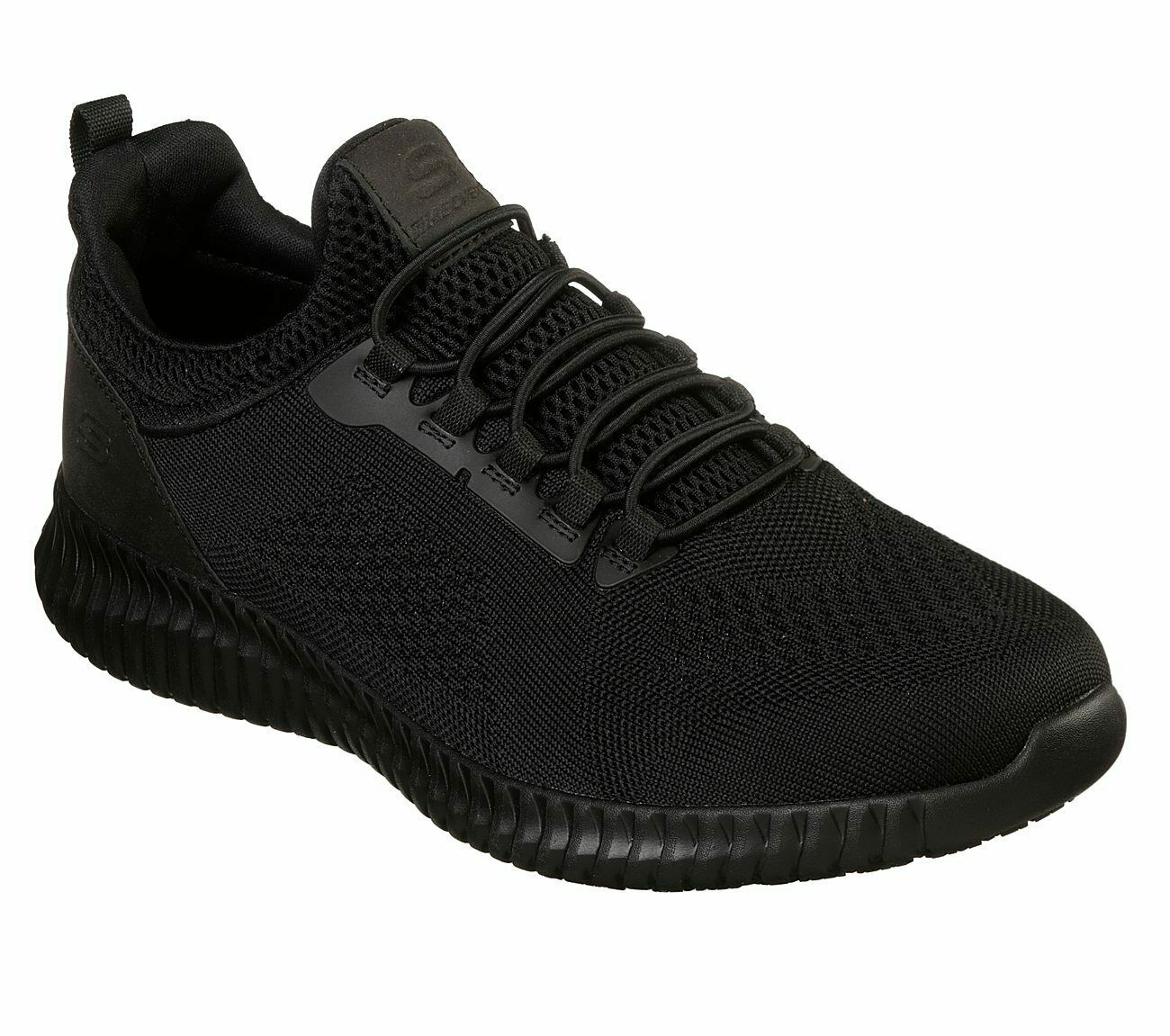 Skechers Wide Fit Black shoes Work Men's Slipon Slip Resistant Memory Foam 77188