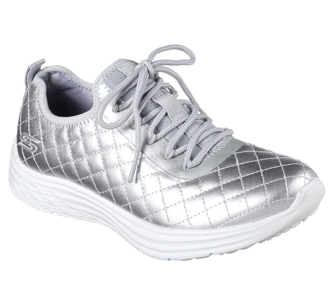 Skechers Damen Bobs Swift Social Hustle Sneaker, Silber