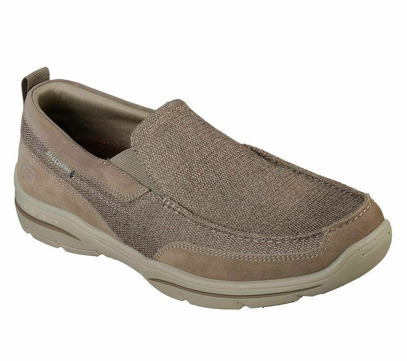 Taupe Men's Shoes Skechers Memory Foam Air Slip On Soft Mesh Loafer Casual 65578