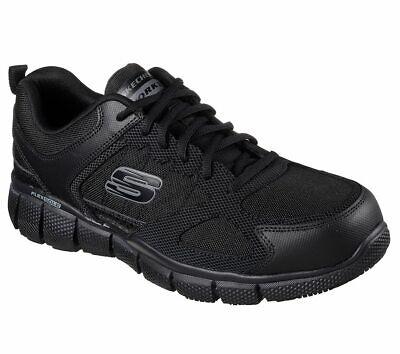 Black Slip Shoes (Skechers Black shoes Work Men's Memory Foam Slip Resistant Comfort EH Safe)