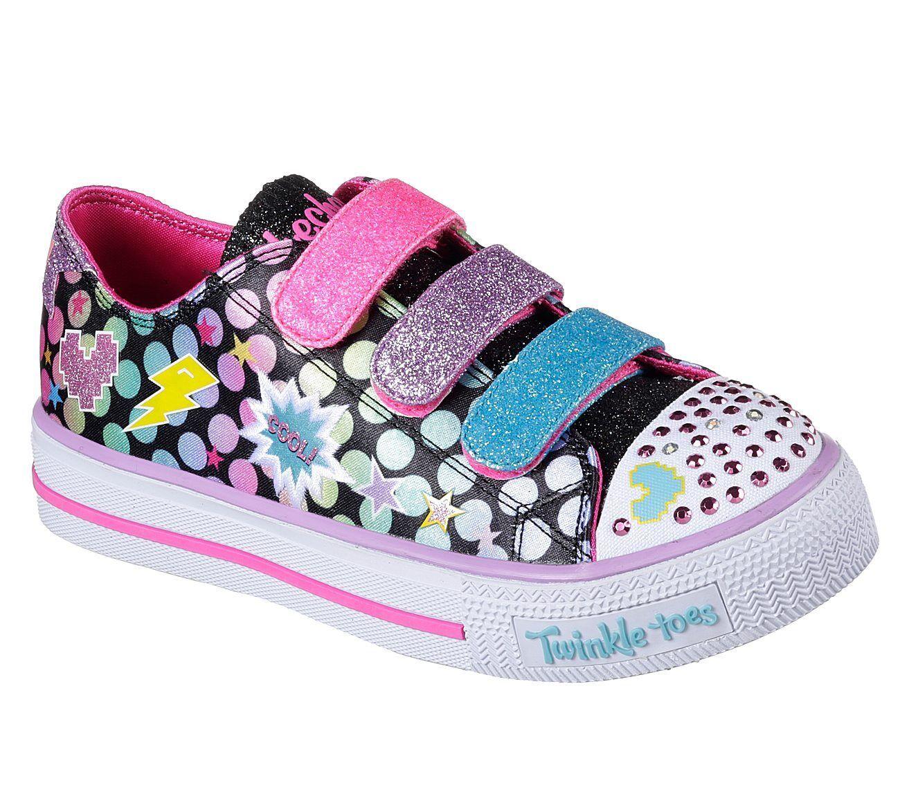 Details zu NEU SKECHERS Mädchen Sneakers SHUFFLES POPPIN' POSSE Beleuchtet Schwarz