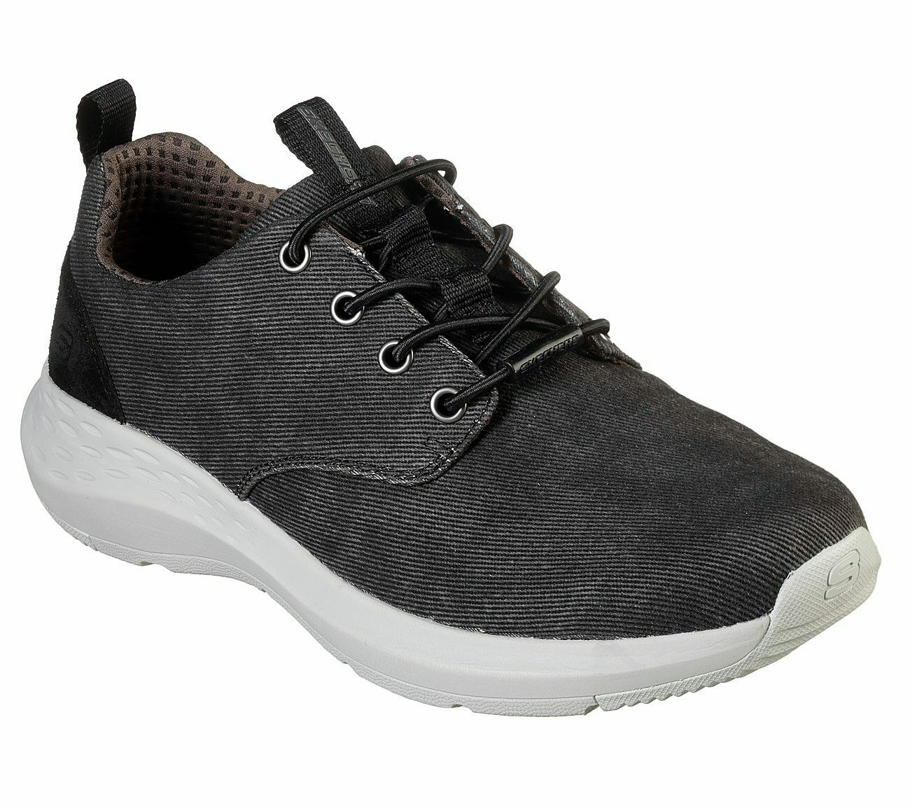 Skechers Extra Wide Fit Black shoes Men Memory Foam Casual Canvas Comfort 66005