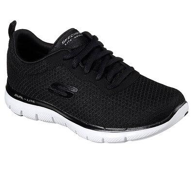 12775 BLK Black White Skechers shoe Women Memory Foam Sport Comfort Mesh Sneaker