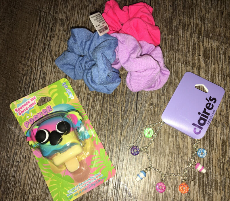 Claire's Koala Lipgloss Keychain Backpack Clip Coffee Donut Bracelet Hair Tie