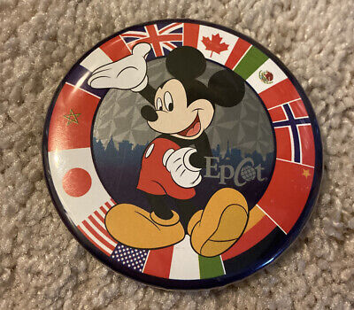 Vintage Walt Disney World EPCOT Mickey Mouse with World Flags Button Pin RARE