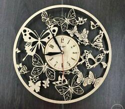 Wooden Wall Clock Home Decor Decorations Butterflies  Handmade Room Decor Gift