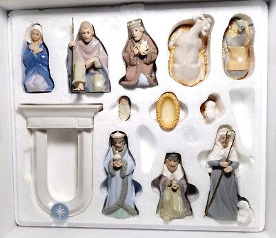 EUC 2006 Hallmark 11-Piece Miniature Porcelain Nativity Set in Original Box