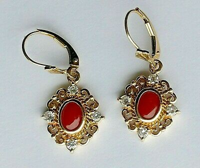 CAST  Filigree 14 KT Gold Leverback Earrings NATURAL RED CORAL Cabs 8 Diamonds  Diamond Filigree Leverback Earrings