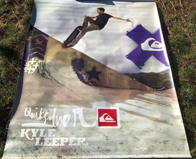 """RARE QUICKSILVER Skateboard Kyle Leeper Promo Display Banner CoolMax 60"""" X 47"""""""
