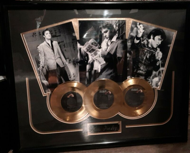 Elvis Presley 3 Gold Records in Beautiful 24x30 Display Frame THE KING!