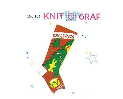 PDF! Print at Home! #105 Knit-O-Graf Tree Christmas Stocking Pattern! ()