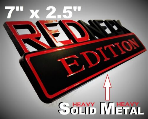 SOLID METAL Redneck Edition BEAUTIFUL EMBLEM Ford Ornament Badge Black Red Logo