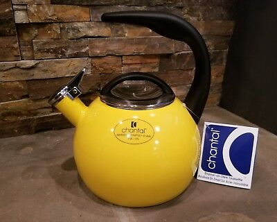 *NEW* Yellow Enamel on Steel Chantal ANNIVERSARY Teakettle 2 Qt Kettle 37-ANN