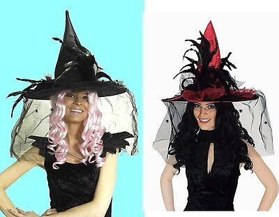 excl HEXENHUT mit Schleier und Spinnen Hexe Hut schwarz rot Damen Halloween NEU ()