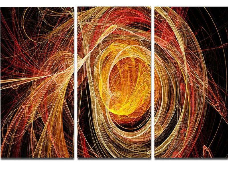 Orange Bal of Yarn - Abstract Digital Metal Wall Art - MT7733-36x28 3 Panels