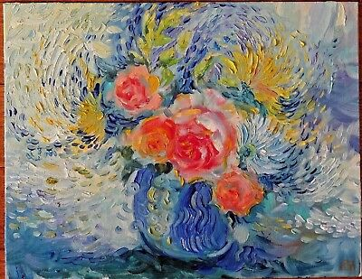 OIL PAINTING HAND PAINTED FLOWERS ROSE CANVAS ON CARDBOARD for sale by artist #2](Cardboard For Sale)