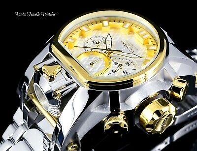 8 SLOT & 52MM Invicta Bolt Zeus MAGNUM Quartz Dual Silver & Gold Bracelet Watch