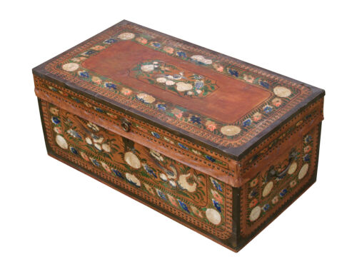 Antique Camphor Wood Chest, 19th C. RARE, PAINT DECORATED