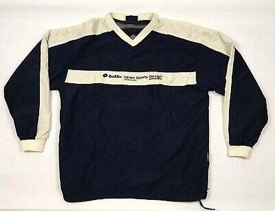 Vintage Lotto Drill Top Wind Jacket Mens Large Navy Blue Pullover Italian Sport