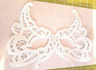 Mask Embroidered Lace Eye Mask Top Face White Carnival Masquerade Halloween (White Eye Mask Halloween)