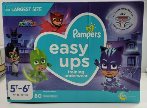 Pampers Easy Ups Pull Ups Training Underwear Diapers PJ Masks 5T-6T 80 count
