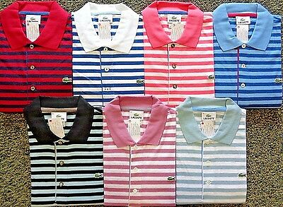 NEW MENS LACOSTE S/S HERITAGE STRIPE JERSEY POLO GOLF SHIRT, PICK A COLOR & SIZE