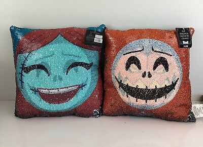 The Nightmare Before Christmas Disney Jack Skellington and Sally Sequins Pillow ](Jack And Sally Nightmare Before Christmas)