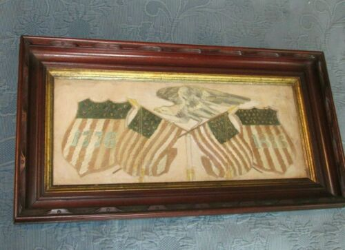 Antique Centennial Patriotic Crewel Work Embroidery, Victorian Walnut Frame,1876
