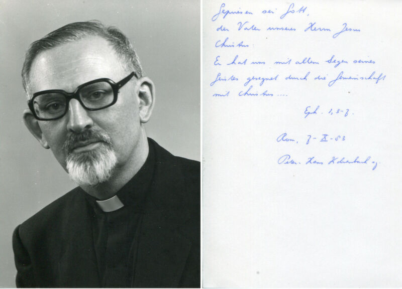 Peter Hans Kolvenbach autograph, Superior General of the Society of Jesus, photo